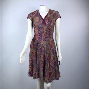 Joseph Ribkoff   Vintage Dress Abstract Cap Sleeve